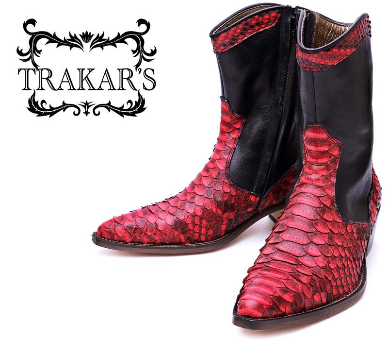 [TRAKAR'S] トラッカーズ T-510 Red Python×Black レッド パイソン×ブラック メンズ 本革 エキゾチックレザー ショート ウエスタン カウボーイ ブーツ