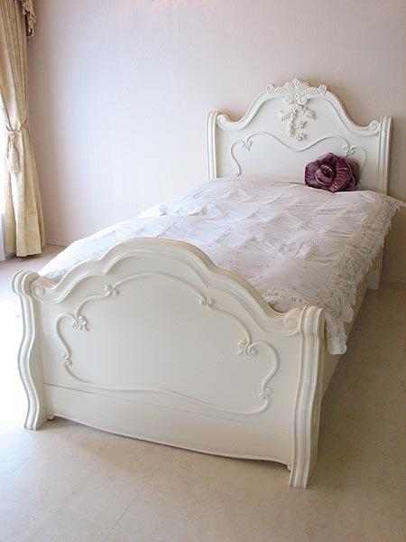 輸入家具 オーダー家具 プリンセス家具 ラ・シェル セミダブルベッド ホワイト
