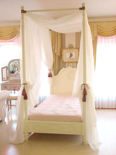 輸入家具■プリンセス家具■ラ・シェル■天蓋付ベッド■シングルサイズ■ホワイト