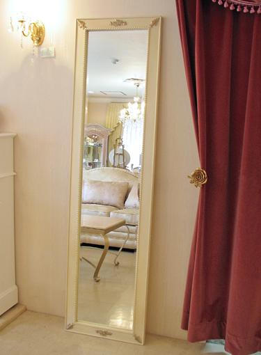 輸入雑貨 ウォールミラー 姿見 薔薇の彫刻 アンティークホワイト&ゴールド色