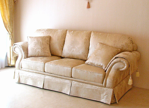 Imported Furniture □ Princess Furniture □ Rococo □ Figaro □ Sofa 3 P □ Gold  Flower Basket Pattern