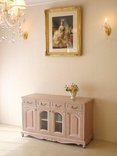 輸入家具 オーダー家具 プリンセス家具 TVボード W120×H70 シェルの彫刻 ピンクベージュ色