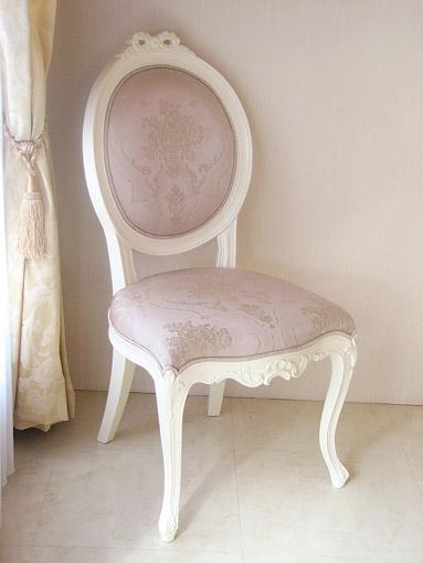 輸入家具■オーダー家具■プリンセス家具■オーバルチェア■猫脚■リボンの彫刻■ホワイト色■ピンク花かご柄