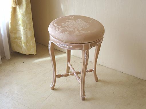 輸入家具 オーダー家具 プリンセス家具 カウンタースツール オードリーリボンの彫刻 ピンクベージュ色 φ37×H50cm ピンク花かご柄