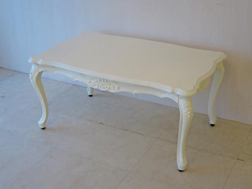 輸入家具 アウトレット センターテーブル 花の彫刻 W95cm ホワイトグロス色 猫脚 ロココ調