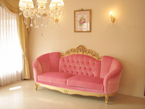 Attirant Imported Furniture □ Order Furniture □ Princess Furniture □ Victoria □  Mansion Type □ 3 P Couch □ Antique Gold Color □ Baby Pink Upholstery