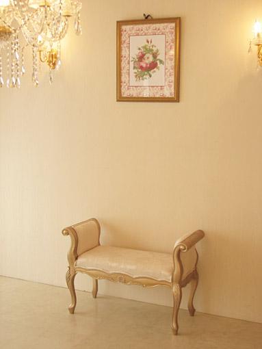 輸入家具 オーダー家具 プリンセス家具 アーム付きベンチ シェルの彫刻 アンティークゴールド色 リボンとブーケ柄オフホワイト