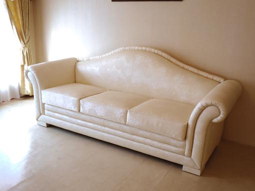 輸入家具 オーダー家具 プリンセス家具 ソファ3P プリンセス マンションタイプ 花柄 フェイクレザーの張地