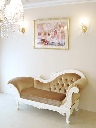 輸入家具 オーダー家具 プリンセス家具 カウチソファ W170cm ホワイト色 アーム右側 ベージュベルベット