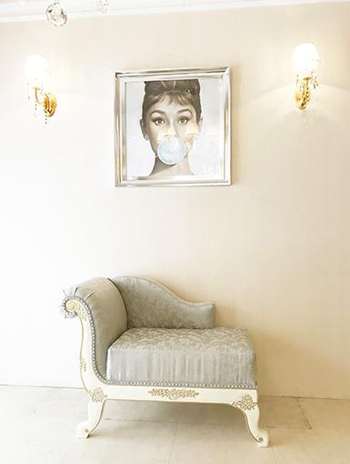 輸入家具 オーダー家具 プリンセス家具 薔薇の令嬢ソファ W100cm アンティークホワイト&ゴールド色