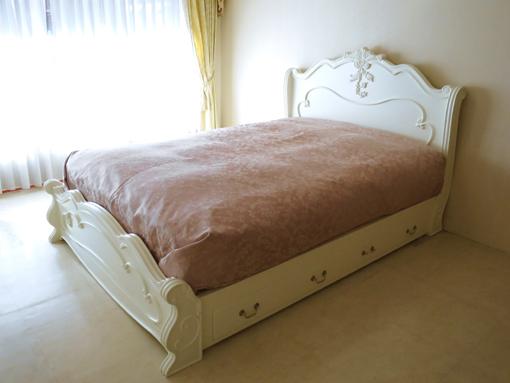 輸入家具■オーダー家具■プリンセス家具■ラ・シェル■ダブルサイズベッド■ホワイト色■両側引出し付