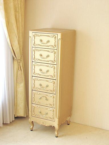 輸入家具 オーダー家具 プリンセス家具 サイドチェスト 猫脚 6段6杯 シェルの彫刻 ゴールド色