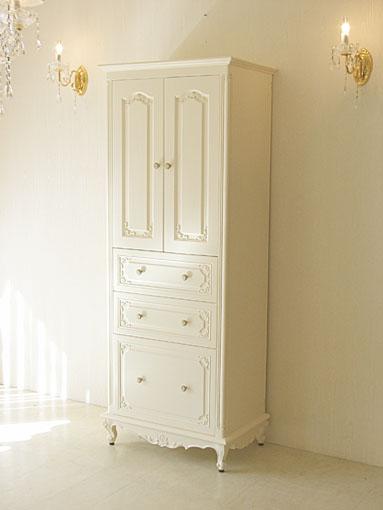 輸入家具 オーダー家具 プリンセス家具 キャビネット W70 下部引出3段 ビバリーヒルズの彫刻 ホワイト色