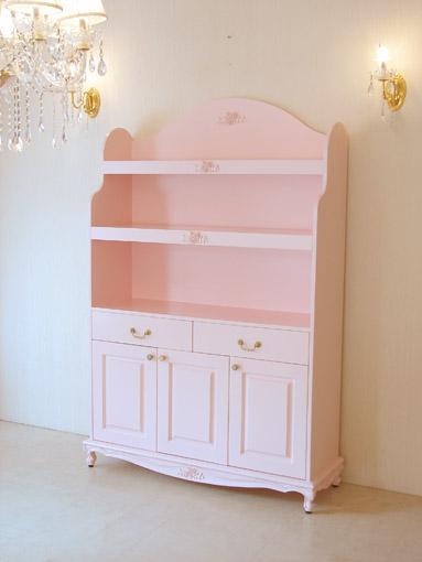 Imported Furniture Order Princess Bookshelf W120 Drawer 2 Cup Open Door Rose Sculpture Barbie Pink