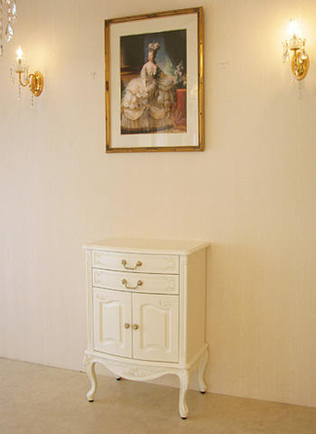 輸入家具 オーダー家具 プリンセス家具 電話台 バラの彫刻 ホワイト色 H87cm