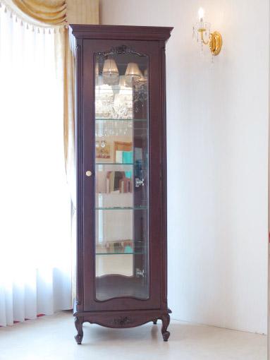 輸入家具 オーダー家具 プリンセス家具 ビバリーヒルズ ショーケース 薔薇の彫刻 ブラウン色
