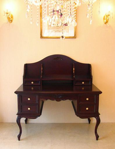 輸入家具 オーダー家具 プリンセス家具 プリマヴェーラ 学習机 ブラウン 薔薇の彫刻2