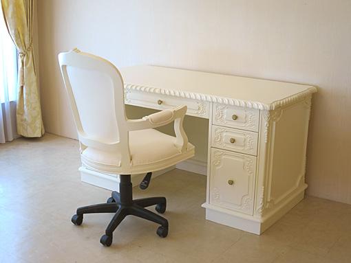 輸入家具 オーダー家具 プリンセス家具 デスク クラシックスタイル W140 箱脚タイプ ホワイト色