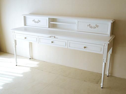輸入家具 オーダー家具 プリンセス家具 マダム・ココ デスク W180 上置き付き 引き戸タイプ オードリーリボンとローズ&リボンの彫刻