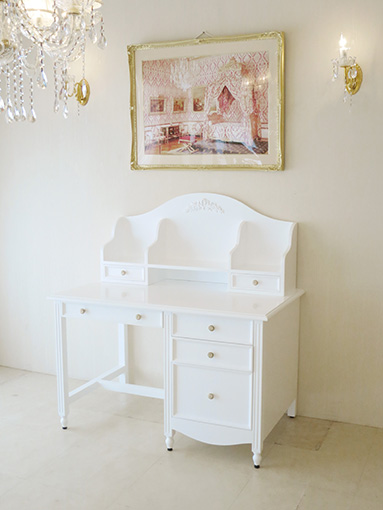 輸入家具 オーダー家具 プリンセス家具 レディメイ デスク W115cm プリマベーラローズの彫刻 スーパーホワイト色