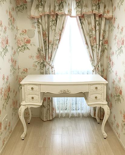 輸入家具 オーダー家具 プリンセス家具 ビバリーヒルズデスク W110cm 薔薇の彫刻 マダム・ココ色