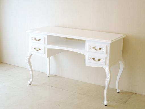 輸入家具 オーダー家具 プリンセス家具 ワーキングデスク W120cm 両面彫刻 片側引出し付 スーパーホワイト色