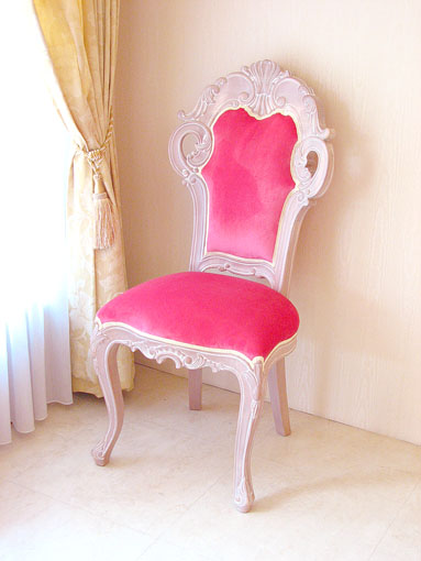 Imported Furniture □ Order Furniture □ Princess Furniture □ Beverly □  Dining Chairs □ Small □ Hot Pink Velvet □ Pink Beige