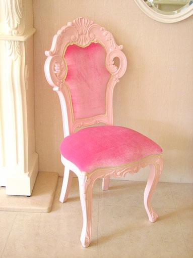 輸入家具■オーダー家具■プリンセス家具■ビバリーヒルズ■ダイニングチェア■スモールサイズ■ベビーピンクのベルベット■バービーピンク色艶あり