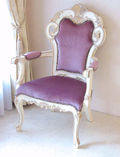 Imported Furniture □ Order Furniture □ Princess Furniture □ Beverly □ Salon  Chair □ Purple Velvet Upholstery □ Antique White U0026amp; Gold Color