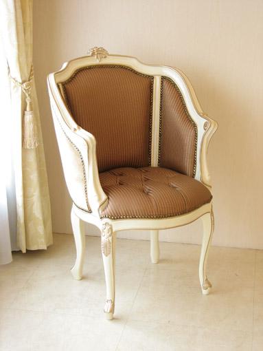 輸入家具 オーダー家具 プリンセス家具 ジューシーチェア アンティークホワイト&ゴールド オレンジストライプの張地