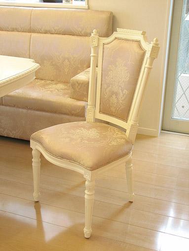 輸入家具 オーダー家具 プリンセス家具 ダイニングチェア ベルサイユ ホワイト色 花かご柄ピンクの張地