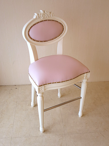 Imported Furniture ♢ Order Furniture ♢ Princess Furniture ♢ Counter Chair ♢  Louis XVI Style ♢ Rose Sculpture ♢ White ♢ Peach Pink Faux Leather ...