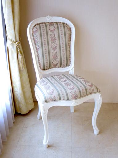 輸入家具 オーダー家具 プリンセス家具 ラ・シェル ダイニングチェア ホワイト色 フィレンツェグリーンの張地