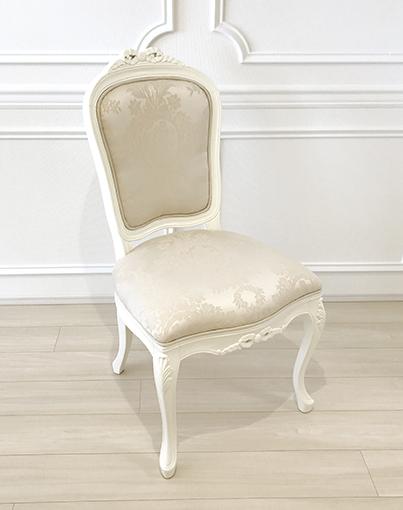 輸入家具 オーダー家具 プリンセス家具 ラ・シェル ダイニングチェア リボンの彫刻 ホワイト色 リボンとブーケ柄オフホワイトの張地