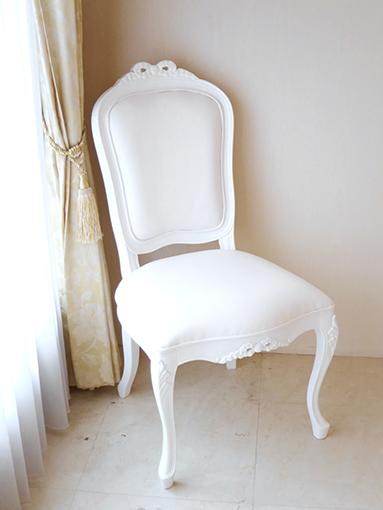 輸入家具 オーダー家具 プリンセス家具 ラ・シェル ダイニングチェア リボンの彫刻 スーパーホワイト色 ホワイトフェイクレザーの張地