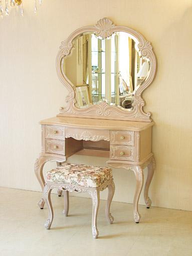 輸入家具 プリンセス家具 オーダー家具 ビバリーヒルズ ドレッサー 一面鏡 ピンクベージュ色 薔薇柄の張り地