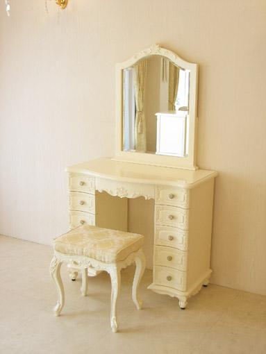 輸入家具 オーダー家具 プリンセス家具 ビバリーヒルズドレッサー 一面鏡 引出し11杯 シャンパンゴールドの張り地