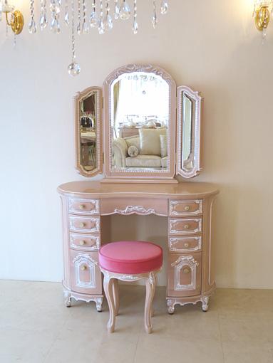 輸入家具 オーダー家具 プリンセス家具 オードリー リボンの女優ドレッサー ピンクベージュ色 ショッキングピンクの張地