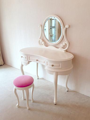輸入家具 プリンセス家具 オーダー家具 オーバルミラー ドレッサー ホワイト色