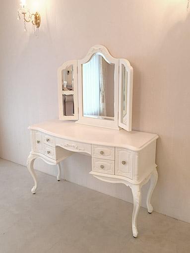 輸入家具 プリンセス家具 オーダー家具 ビバリーヒルズドレッサー ホワイト色 W120 オードリーリボンの彫刻