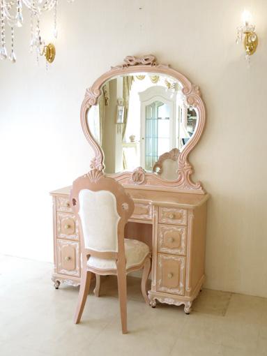 輸入家具 オーダー家具 プリンセス家具 ドレッサー W110 エレガントな一面鏡 オードリーリボンとイニシャルの彫刻 下台;ビバリーヒルズの彫刻 ピンクベージュ色
