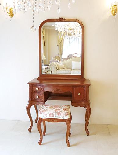 輸入家具 プリンセス家具 オーダー家具 ビバリーヒルズ ドレッサー 一面鏡 高さ170cm 右側引出し1杯 薔薇の彫刻 マイエル色