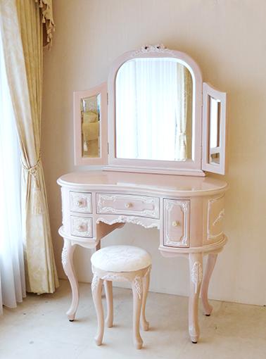 輸入家具 オーダー家具 プリンセス家具 プリンセスドレッサー リボンの彫刻 ピンクベージュ色 オールドローズの張地