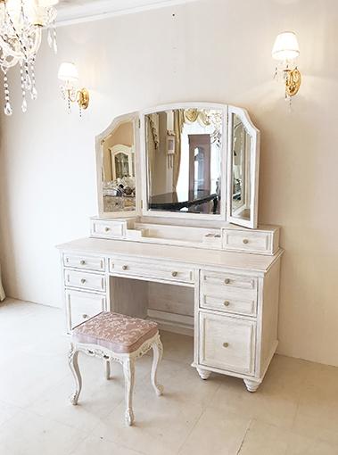 輸入家具 プリンセス家具 オーダー家具 ドレッサー アメリカンクラシックスタイル シャビーシック ホワイトウォッシュラスティック色