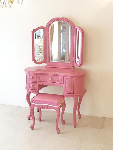 輸入家具 プリンセス家具 オーダー家具 プリンセスドレッサー 女優リボンスタイル ショッキングピンク色 ショッキングピンクの張地