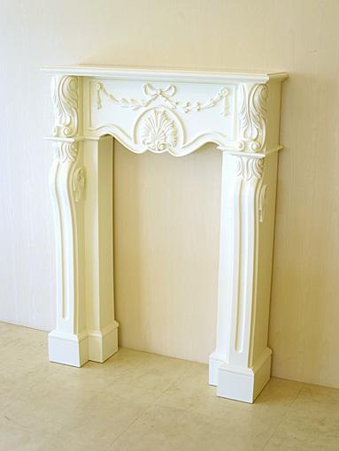 輸入家具■オーダー家具■プリンセス家具■マントルピース■シェルとリボンの彫刻■W85×D23×H115■ホワイト色