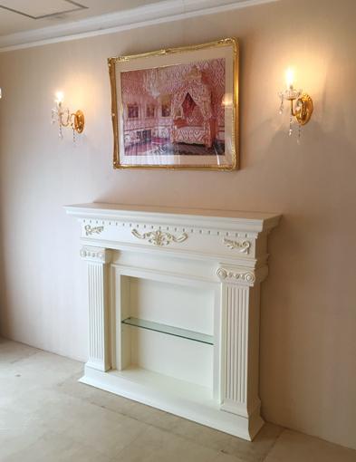 輸入家具 オーダー家具 プリンセス家具 マントルピース パルテノンスタイル W140cm 中央ガラス棚 ホワイト色