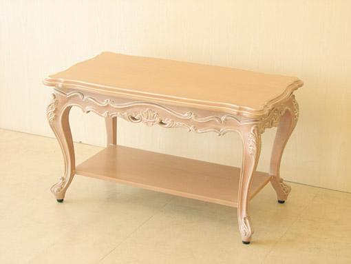 プリンセス家具■オーダー家具■ビバリーヒルズ■サイドテーブルW80×D45■収納棚付き■ピンクベージュ色