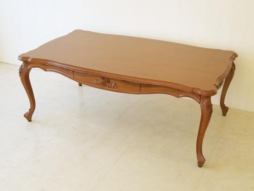 輸入家具 オーダー家具 プリンセス家具 ビバリーヒルズ センターテーブル 120×70cm 引出し付 薔薇の彫刻 マイエル色