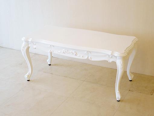輸入家具 オーダー家具 プリンセス家具 ビバリーヒルズ センターテーブル W100×D50cm オードリーリボンと薔薇の彫刻 スーパーホワイト色